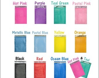 50 Pack Hot Pink, Purple, Teal, Blue, Black, Yellow, Orange, Pastel Pink 4x8 Poly Bubble Mailers, Padded Mailing envelopes, Shipping Mailers