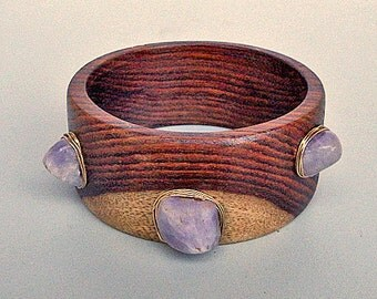 Wooden Bracelet with Three Amethysts and Gold Wire
