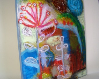 Original abstrct acrylic painting on wood, mixed media, garden view, contemporary art, modern painting