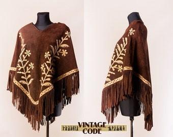 Dark Brown Floral 70s Suede Poncho Cape / Hippie boho Flower appliqué Fringe poncho cape  / Festival clothing / small medium