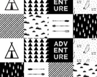 Adventure-Black and White Patchwork Minky Blanket or Quilt