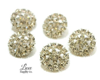 Gorgeous Metal Rhinestone Buttons with Loop- 20mm - Rhinestone Embellishments - You choose the quantity! WHOLESALE DISCOUNTS - MR218 loop