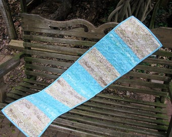 Quilted Table Runner - Teal and Tan Batik Quilted Table Runner