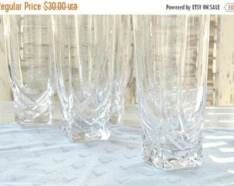 On Sale Vintage Clear Glass Ice Tea Glasses Set of 5, Vintage Modern Tea Party Glassware, Barware, Wedding, Lemonade Glassware