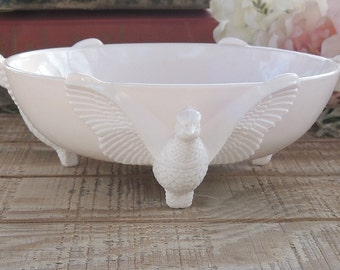 Jeanette Pink Milk Glass Pedestal Compote Serving Bowl Home Decor Wedding French Cottage Style