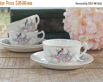 On Sale Homer Laughlin Robin and Pink Roses Tea Cup Set Ca. 1920s Cottage Style Farmhouse