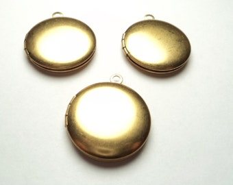 3 pcs - 20mm  Brass Round Lockets - m267