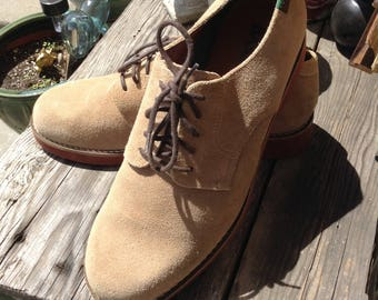 Vintage hipster 80s Mens Bass brown suede oxfords size 9.5 free domestic shipping