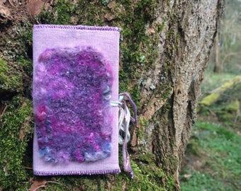 Little fabric and handmade felt journal/ notebook cover