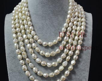 white pearl necklace,long real pearl necklaces,100 inch baroque pearl necklaces,8x10mm freshwater pearl necklaces,baroque pearl jewelry