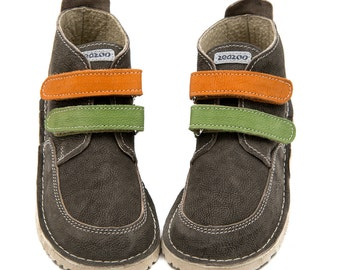 Gray leather shoes, colorful straps,leather lining,Vibram sole, velcro fastening,support barefoot walking, sizes EU 21 to 31 - US 6 to 12.5