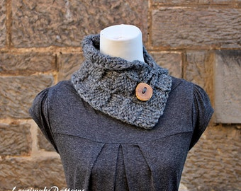 Knitting pattern - button collar neckwarmer - Listing146