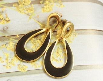 Xmas SALE Vintage Gold and Black Enamel Earrings, Gifts Under 15