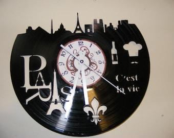 Paris France Laser Cut Album Clock