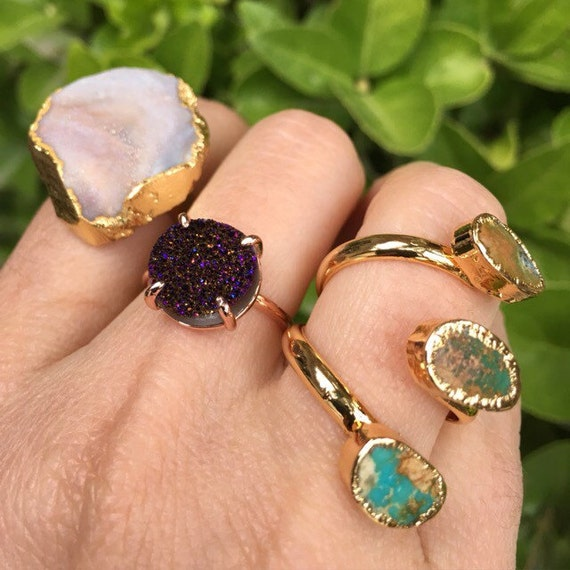 Druzy Rings and turquoise rings