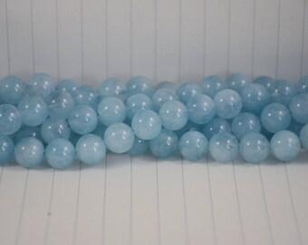 Aquamarine Beads --- Round --- 10mm --- 37 beads --- Full Strand --- Hole 1mm --- A quality