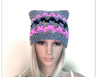 BUY1GET1HALFPrice Womens teens Cat ears handmade crochet beanie beret hat grey irish chunky lace grey pink hat animal novelty hat pussy kitt