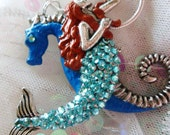 Custom Listing for Tracey - mermaid and seahorse necklace...custom colors