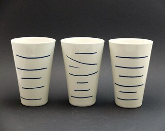 Modern porcelain mug, XL mug, contemporary ceramics, minimalist mug, Cobaltblue porcelain, porcelain mug, Chinese Pagodas
