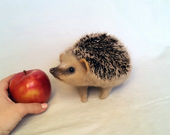 Hedgehog big Felt toys Needle Wool Animals Sculpture Felted Hedgehog Handmade gift ... I will make this item for your order