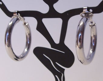 Crown Trifari Silver Tone Tubular Hoop Clip Earrings