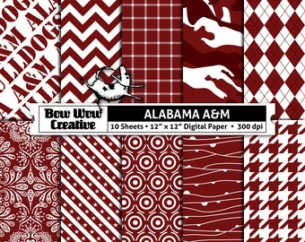 10  Alabama A&M Bulldogs, maroon, white, digital, paper, scrapbook paper, school colors, team colors, printable, patterns, college, sports
