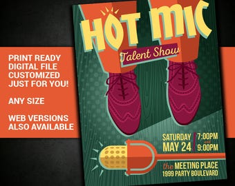 Talent Show, karaoke, Open Mic, microphone, talent, show, comedy, comedy club, flyer, printable, poster, customized, invitation, postcard