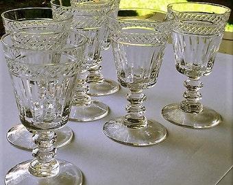Vintage Crystal Sherry Glasses, 6 crystal wine glasses, art deco style cordials, barware glassware