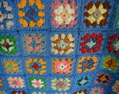 Vintage Hand Knit Granny Square Afghan, Delightful Blue Background, Fabulous Multi- Colors, One of a Kind