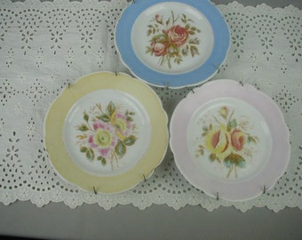 Antique Dessert Plates for Wall Decor, Shabby Cottage, Cottage Chic, Pastel Colored Flowers,  Set of 3 with Hangers