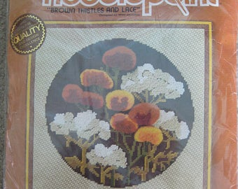 """SUNSET NEEDLEPOINT KIT Embroidery Brown Thistles & Lace 6251 Flowers Mod 70s Floral 1978 canvas sewing modern 12""""x 12"""" frame Mimi Shimmin"""