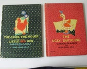 """two 1932 Calico Classics children's books """"The Ugly Duckling"""" and """"The Cock the Mouse and the Little Red Hen"""""""