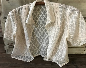 1930s Tulle Lace Bolero Jacket Blouse, Embroidered Floral Tulle Lace, Bridal, Wedding