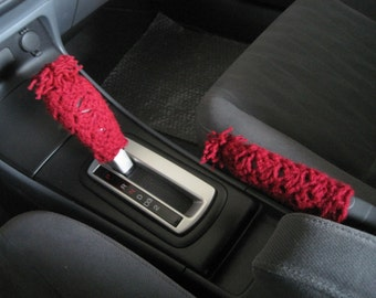 Crochet Set of Gear Shift Knob Cover and Handbrake Holder Cover with Tassel- burgundy (CGSKHH1A-T)
