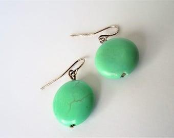 Turquoise Earrings, Round Earrings, Simplistic Earrings, Simple Style, Audrey Hepburn, Boho, Earthy, Natural Stone, Natural Stone Earrings,