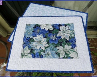 Blue Poinsettia Quilted Christmas Placemats 393