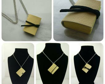Hogwarts inspired pleather Hufflepuff mini book necklace