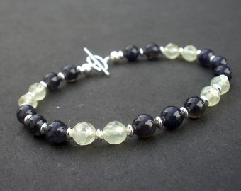 Iolite and Prehnite 925 Sterling Silver Toggle Clasp Bracelet