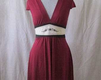 Maroon Knit Dress - Eco Clothing - One of a Kind Dress - Medium Dress - Upcycled Dress - Upcycled Clothing