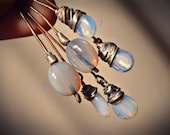 Rustic soldered headpins opalescent glass. Moonstone glass charms. Artisan jewelry components. Ready to ship!
