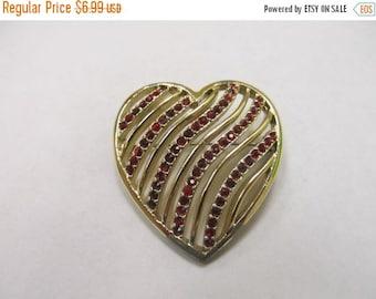 On Sale Vintage Gold Tone Red Rhinestone Heart Pin Item K # 2159