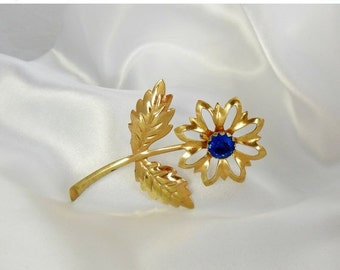 Holiday Sale Flower Brooch Art Deco Gold Blue Rhinestone Center