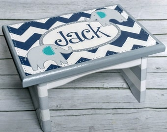 Chevron Elephants Artisan hand painted custom wooden step stool ~ Navy Blue grey turquoise and white chevron stripes