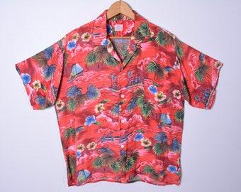 Vintage 1950s Rayon Hawaiian Shirt Novelty Print Made in Japan Tropical Tiki Size Medium