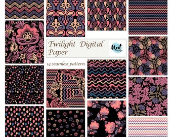 """Colorful digital paper : """"Colorful Patterns on Black"""" neon and black digital paper, colorful digital patterns on black background. rusteam"""