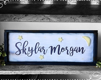 Wood sign baby nursery boy girl moon and stars navy blue typography hand lettering room decor kids gift Framed