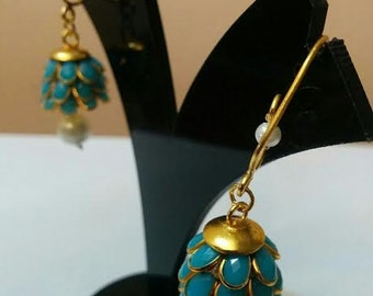 Three- tier Indian pacchi, pachi jhumkas in light blue with golden hook, Indian jewelry, earing