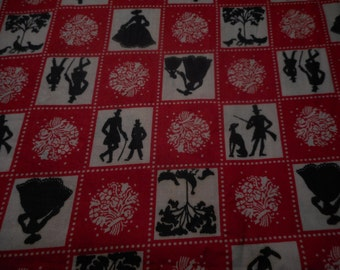 Vintage 1940's, 50's Red, White, Black Silhouette Cotton Fabric Remnant