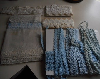 Vintage 1940's, 50's, 60's Sewing Supply Doll Clothes Light Blue and White Lace Corded Assorted Trims Lot