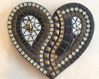Handmade Mosaic Heart Wall Art or Candle Holder